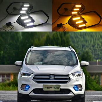2PCS Turn Yellow Signal Function 12V Car DRL Lamp LED Daytime Running Light For Ford Escape Kuga 2016 2017 2018