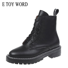 E TOY WORD Autumn Shoes Women 2019 black Pu Leather Martin Boots Work Shoes Pointed toe Lace Up Women Ankle Boots Women Shoes