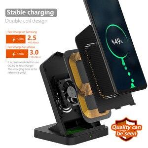 Image 2 - Soporte de cargador inalámbrico para iPhone, ventilador de refrigeración de 10W, cargador de inducción de carga inalámbrica para iPhone X, XR, XS, 8 Plus, Samsung S8, S9, S7