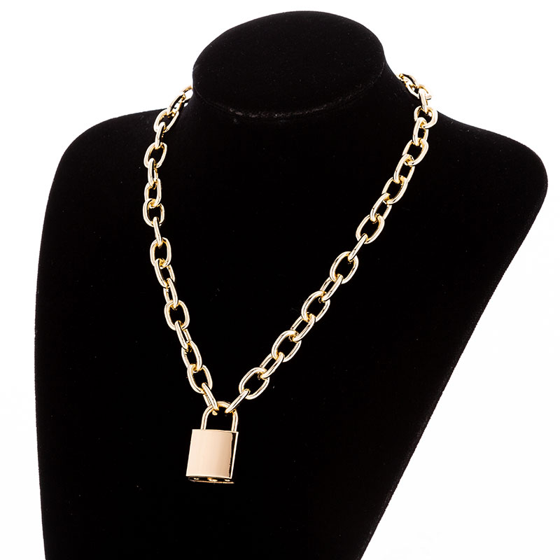 Hddd21398290b41a3a04979f57eb8dbc5H - KMVEXO Multilayer Lock Chain Necklace Punk Padlock Key Pendant Necklace Women Girl Fashion Gothic Party Jewelry