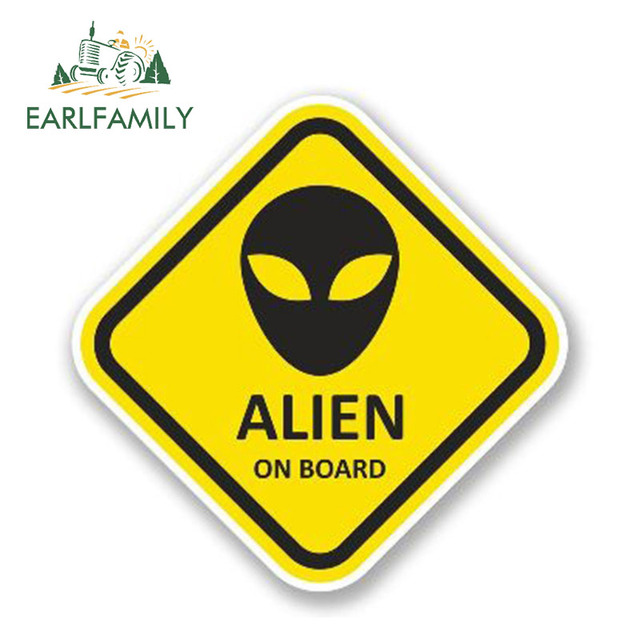 EARLFAMILY 13cm x 13cm Alien à bord vinyle décalcomanie étanche voiture autocollant moto décor réfléchissant autocollants pare-chocs accessoires