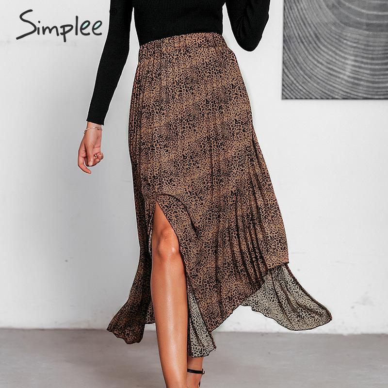 Simplee Vintage Leopard Print Women Midi Skirt Bohemian Autumn Irregular Female Skirt High Waist Casual Streetwear Ladies Skirt