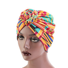 Hair Cap African Pattern Flower Turban Muslim Headscarf Headwrap Ladies Women Chemo Bandanas Hair Styling Accessories(China)