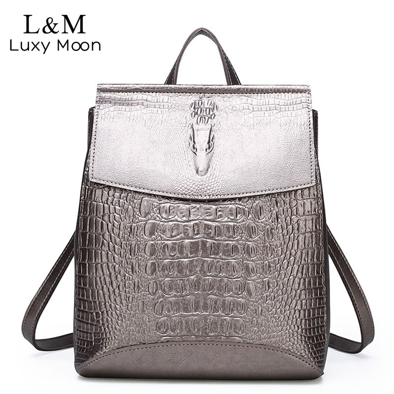 Fashion Women Backpack High Quality Leather Shoulder Bag Female Alligator Prints Large Multifunctional Travel Back Bag XA496H