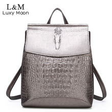 Fashion Women Backpack High Quality leather Shoulder Bag Female Alligator Prints Large Multifunctional Travel Back Bag XA496H(China)