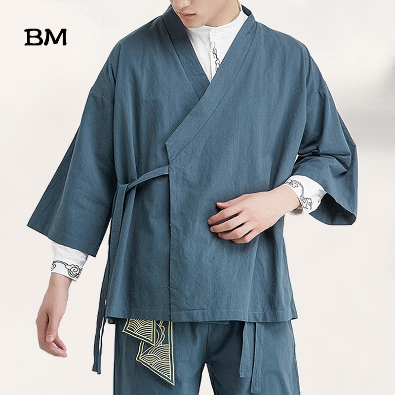 2020 Summer Chinese Style Linen Jacket Hanfu Men Costume Suit Loose Large Size Cotton Linen Retro Style Tang Suit Robe Male