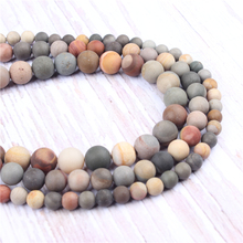Matte Drawing Natural?Stone?Beads?For?Jewelry?Making?Diy?Bracelet?Necklace?4/6/8/10?mm?Wholesale?Strand