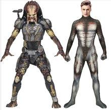 Masculino predador cosplay traje 3d impressão elastano zentai homem predador terno básico halloween superhero bodysuit adultos crianças macacões