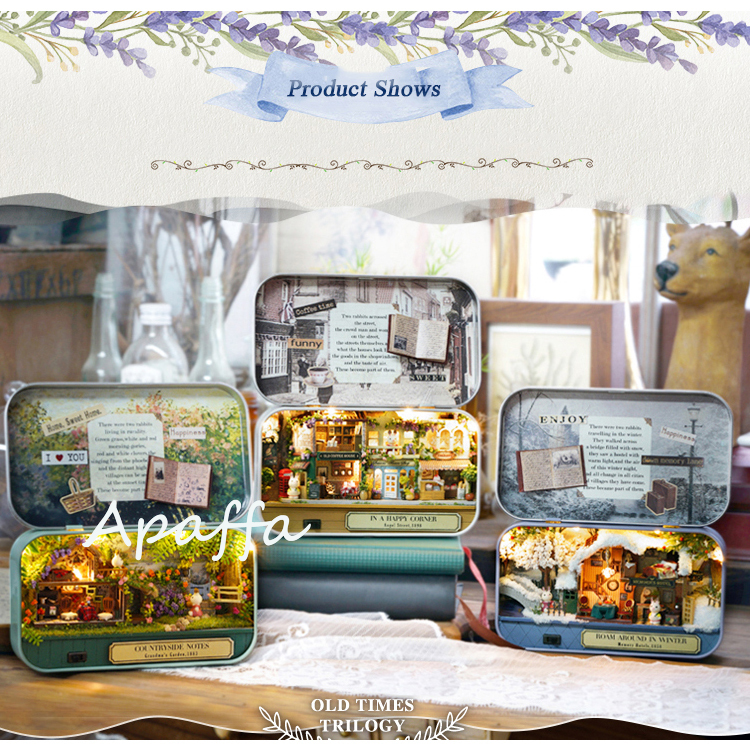 Box Theatre Diy Wooden House For Dolls Miniature Home 13 Styles Nostalgic Theme Doll House Furniture Accessories Toys For Kids