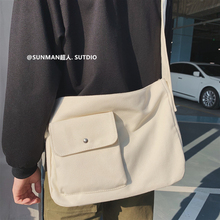 Hip Hop Canvas Men Shoulder Bag School Korean Minimalist Designer Crossbody Casual Bolsos Para Hombre Sling Bag Men DE50NDJ