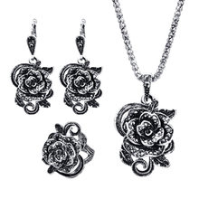 Silver Color Vintage Jewellery Set Fashion Black Crystal Flower Jewelry Sets For Women Wedding Party Birthday Gift(China)