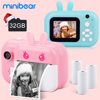 Kids Instant Camera For Children Camera 1080P Digital Camera For Kids Instant Print Camera Birthday Gifts For Girl Boys Minibear