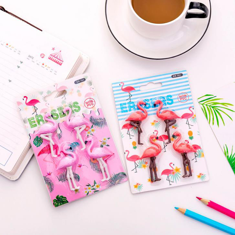 4 Pcs/pack Animal Flamingo Eraser School Office Rubber Pencil Erasers Correction Drawing Tools Children Reward Gift Stationery