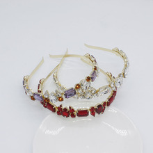 Thin Gem Headbands Womens Diamond Hair Accessories Rhinestone Tiaras and Crowns Wedding Hairband Hoop Headdress Head Bands