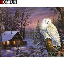 HOMFUN – peinture diamant thème maison hibou, broderie complète 5D,