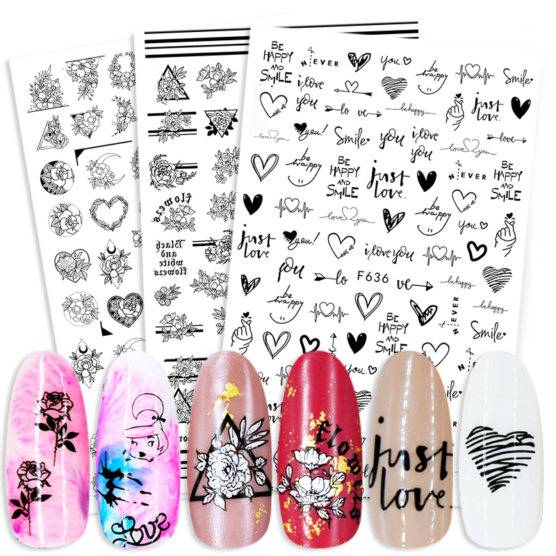 Flower Rose Heart Design Adhensive Nail Stickers Lovely Transfer Stickers Decals Nail Art Decoration Plants Tips Papers Wraps