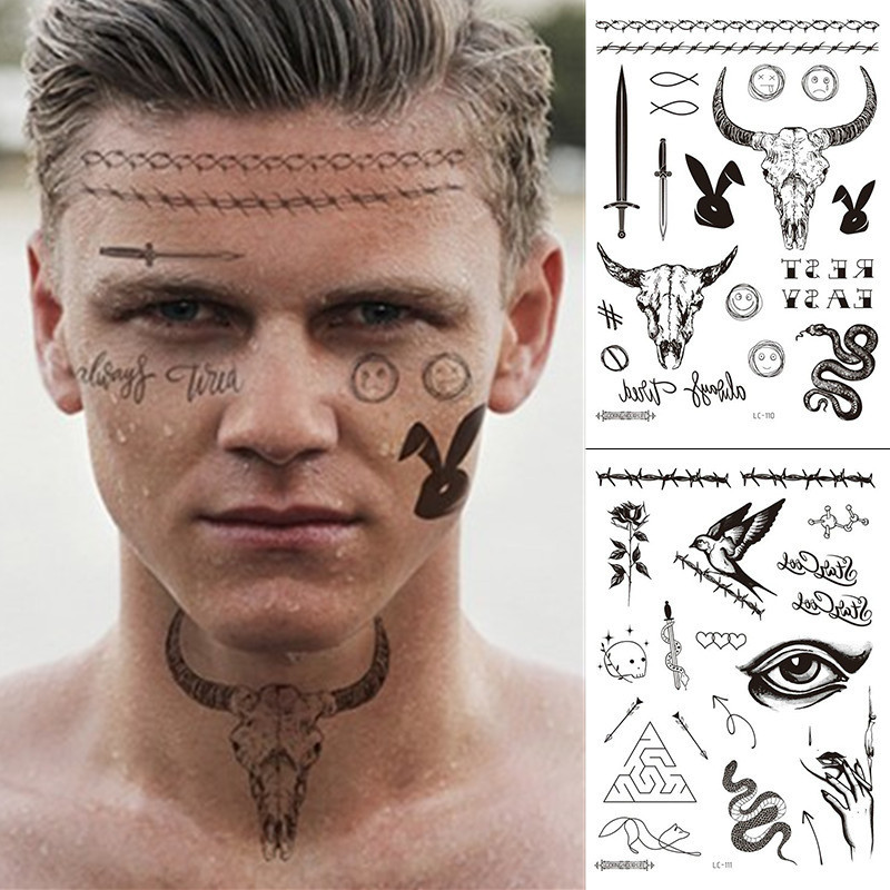Temporary Tattoo Sticker for Man Woman's Neck Boys Tattoo Body Art Sword Tattoo Black Sexy Face Tattoo Waterproof Sticker Party