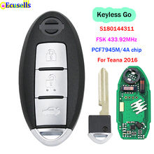 3 زر Keyless الذهاب مفتاح بعيد FSK 433.92MHz PCF7945M / HITAG AES / 4A رقاقة لنيسان Teana 2016 S180144311