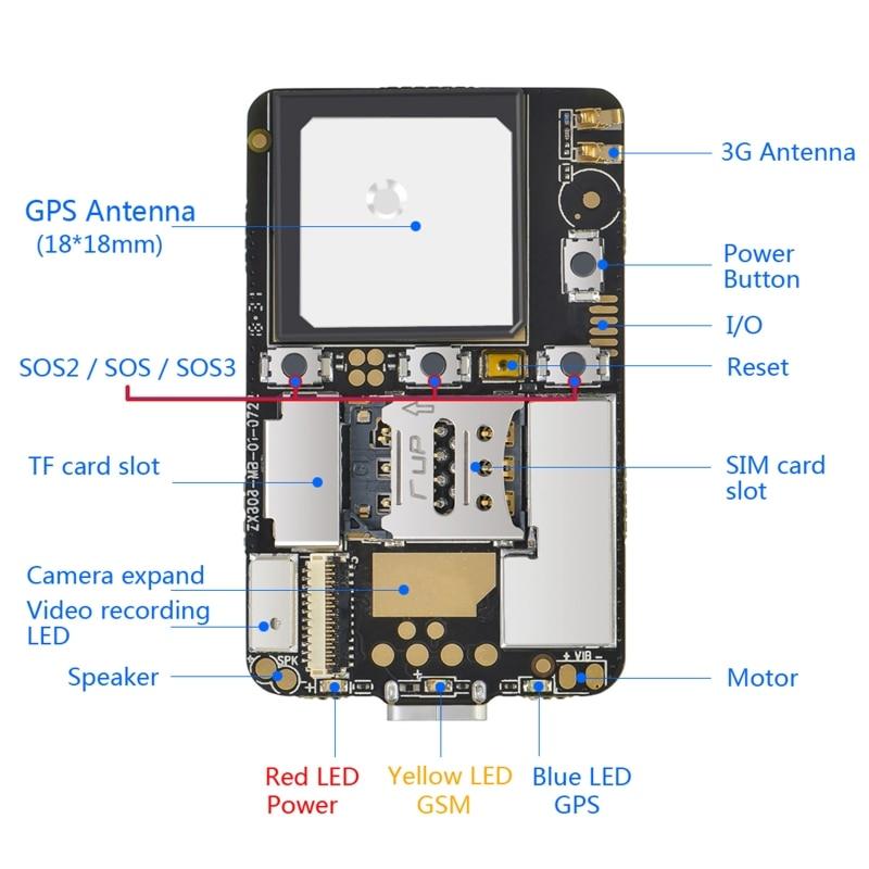 M3 GPS Tracker GSM AGPS Wifi LBS Locator APP Voice Recorder ZX808 PCBA Inside