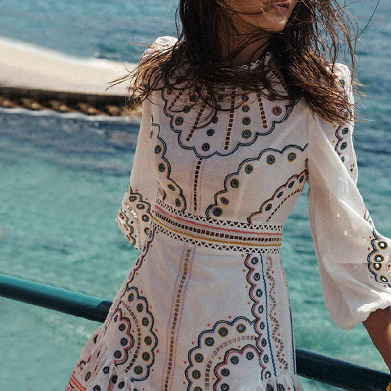 YAMDI 2020 woman elegant summer dress women runway high quality a-line vintage embroidery dresses party spring hollow out vestid