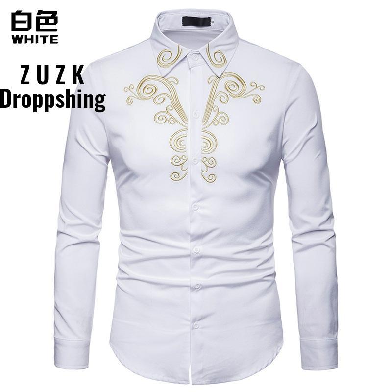 DropshippingDrop ShippingMen's Embroidered Men Long Sleeve Shirt