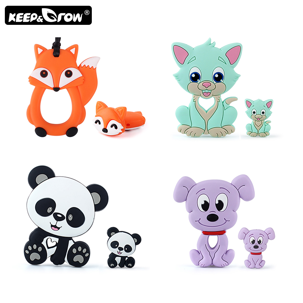 2pcs/set Rodents Baby Silicone Teether Koala Dog Cat Silicone Beads DIY Pacifier Chain Teething Toys Perle Silicone Baby Product