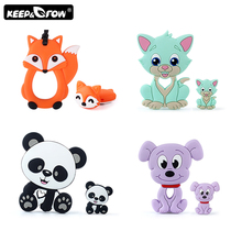 2pcs/set Rodents Baby Silicone Teether Koala Dog Cat Silicone Beads DIY Pacifier
