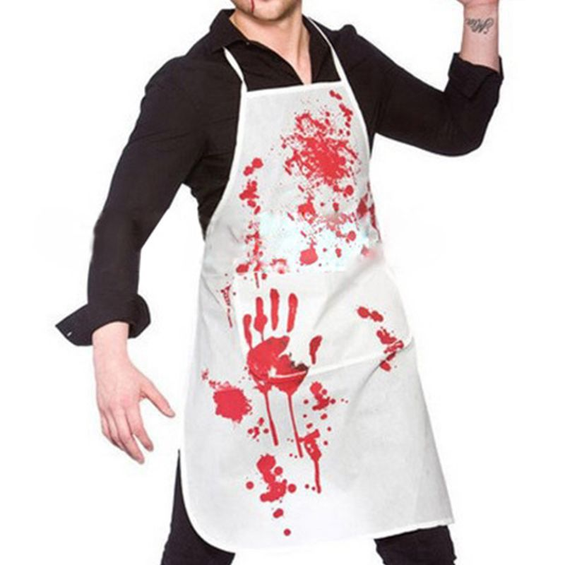 Unisex Halloween Scary Bloody Printed Chef Apron Butcher Murder Cosplay Costume Zombie Party Accessories Theme Props Novelty Bib