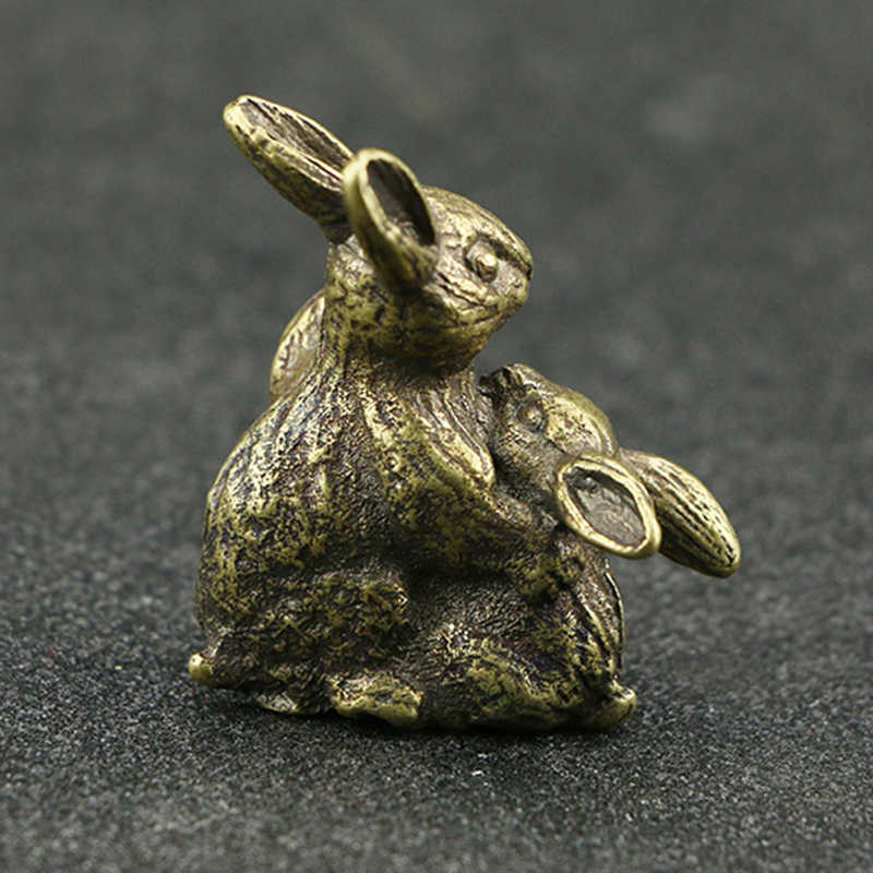 Винтаж латунь кролик ручной работы 1 шт. Настольное декоративное украшение предмет интерьера ручной работы окрашенные линии