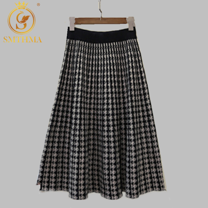 New Autumn And Winter Vintage Stretch High Waisted Midi Pleated Houndstooth Printed Knitted Skirt For Women Runway Skirts