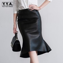 2020 New Fashion Sexy OL Style Formal Ruffles Trumpet Knee Length Genuine Leather Women Female Skirts Sheepskin Black Plus Size(China)