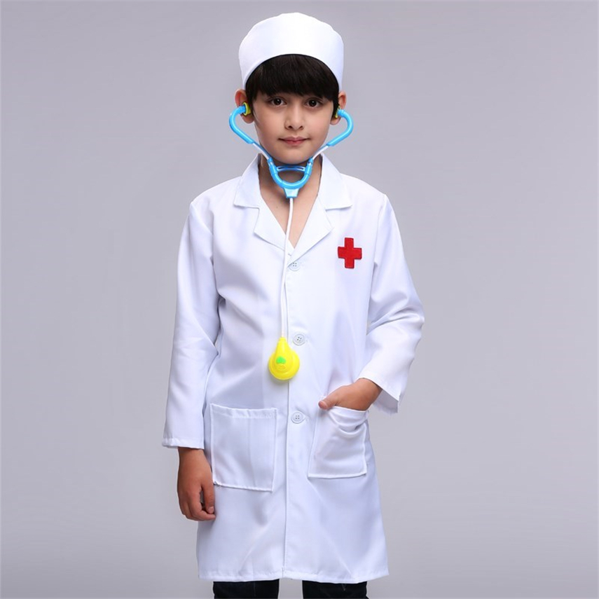 Kids Medical Uniforms Cosplay Costumes ScrubsTheme Party Performance Clothing Halloween Carnival Doctors Nurse Work Jacket