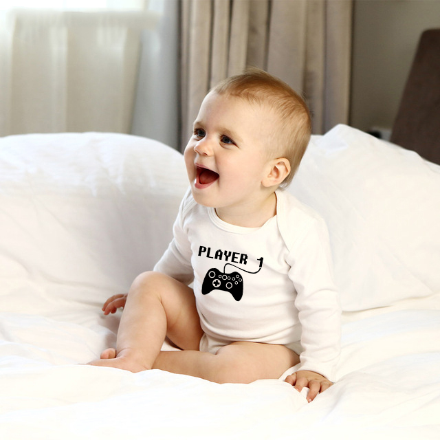 Player One Letter Print Baby   Romper   Newborn Clothing Bebe Boy Girl Cotton Long Sleeves O-Neck Play Game Infant Clothes