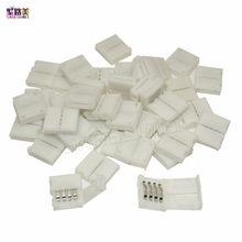 Frete grátis mini 4pin 10mm rgb conector branco para 5050 rgb led strip iluminação 4 pinos sem solderless qualquer ângulo fácil conectar
