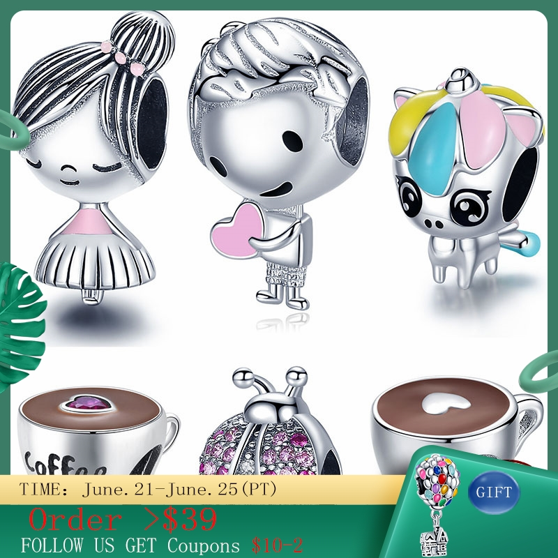 Hot Sale 100% Real 925 Sterling Silver Boy Girl Coffee beads Charms Fit Original Bracelet&Bangle Making Fashion DIY Jewelry