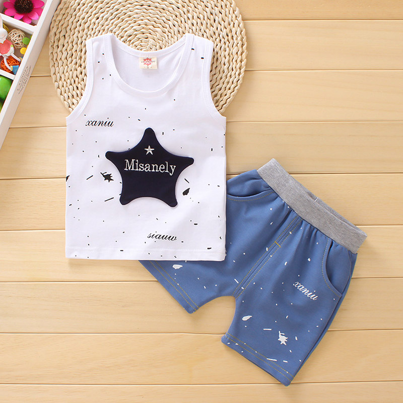 DIIMUU Toddler Boy Clothes Summer Sleeveless Clothes Set Baby Casual Suit Boys Girls Cotton Vest + Shorts Suit Kids Clothing