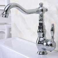 Polished Chrome Basin Sink Faucet Bathroom Basin Mixer Single Handle Mixer Tap Kna934