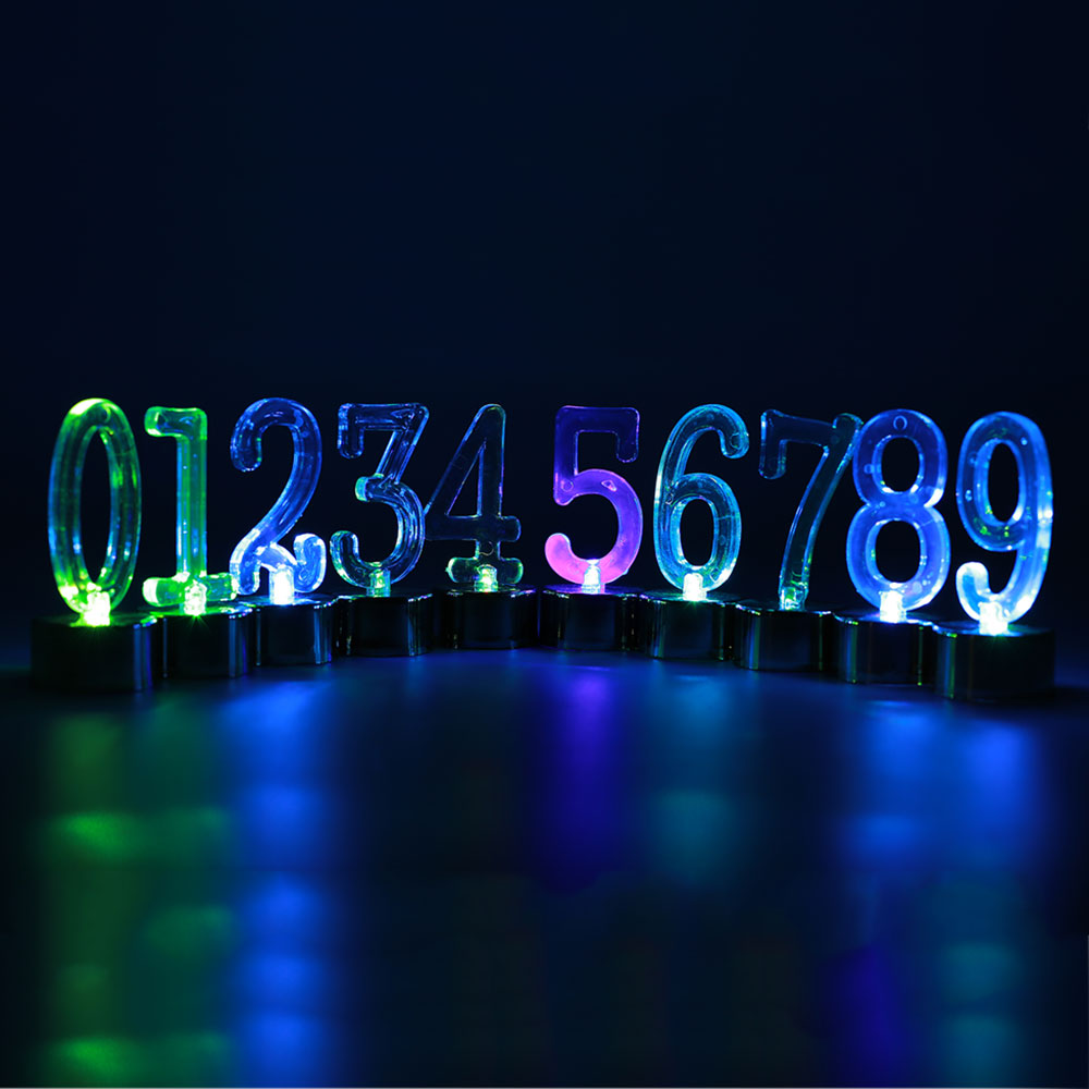 Number Candles for Birthday in Cake Decorating Supplies Automatic 7 Colors Changing LED Light 0-9 Led Candle Home Wedding Party