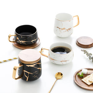 300ml Luxury matte ceramic marble tea coffee Cups and with wood Saucers black and white gold inlay ceramic cups
