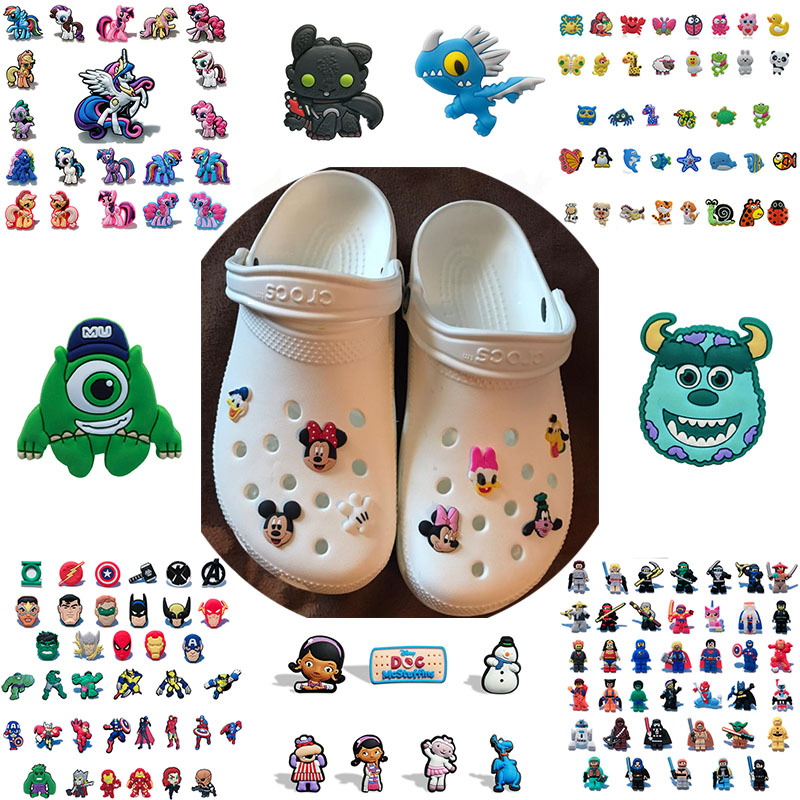 50pcs Avengers Star Wars Superheros Cartoon PVC Shoe Charms Shoe Accessories Shoe Buckle Croc Decorations Jibz Kids Party Gifts