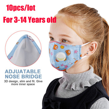10pcs children Face Mask Reusable Washable pm2.5 Anti flu kids masks Bacteria Virus Breathable Valved Respirator Filter paper