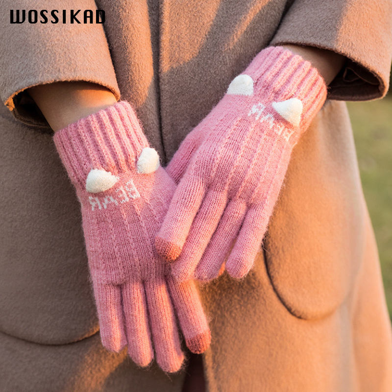 Touch Screen Gloves Winter Cashmere Lining Keep Warm Guantes Women Couple Gloves Handschoenen Christmas Present Dropshipping