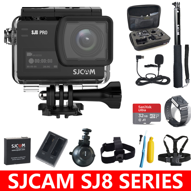Original SJCAM SJ8 Series SJ8 Air & SJ8 Plus & SJ8 Pro Action Camera 1290P 4K WIFI Remote Control Waterproof Sports DV