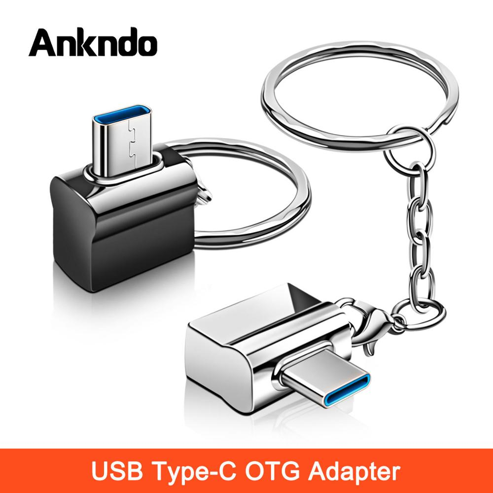 Ankndo OTG Type C USB OTG Type-C Adapter Cable Converter Type C To USB With Metal Key Chain Mouse Keyboard USB Disk Flash OTG