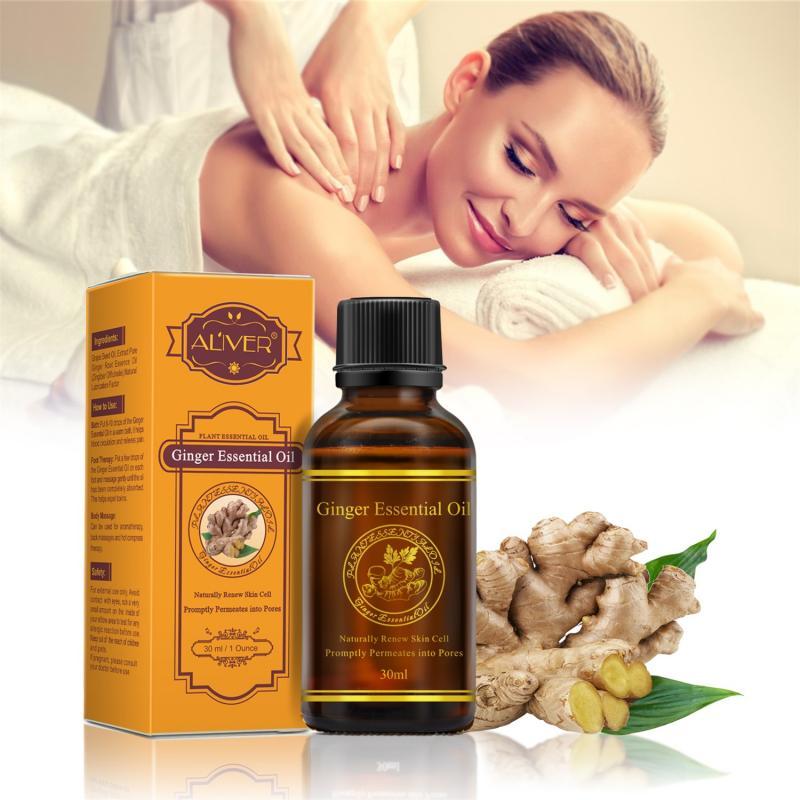 30ml czysty olejek eteryczny roślinny olejek imbirowy masaż ciała termiczny olejek eteryczny z imbiru Anti-aging detoksykacja limfatyczna tslm1