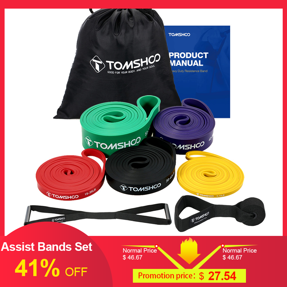 TOMSHOO Assist Bands Set 5 Packs Pull Up Resistance Loop Bands Powerlifting Exercise Stretch Bands With Door Anchor And Handles