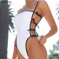 Bañador de banda ahuecado para mujer, traje de baño Sexy de una pieza, de cintura alta Monokini, 2020