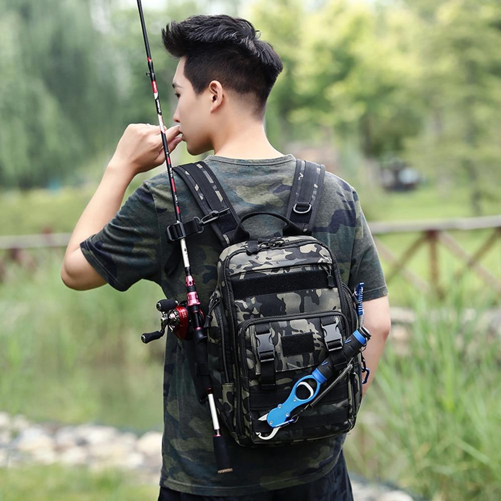 Рыболовные снасти сумка рюкзак тактический Водонепроницаемый Многофункциональный одно плечо военная сумка пакет Грудь сумка для рыбалки ...