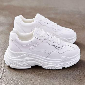 Zapatillas gruesas blancas de piel sintética a la moda deportivas de suela gruesa para mujer zapatos informales para B-50