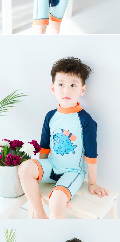 BOY'S Clownfish One-piece Sun-resistant UV-Protection Bathing Suit + Swim Cap Baby Model Clothing Surfing Suit